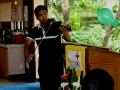 Moses Libres playing violin before worship service